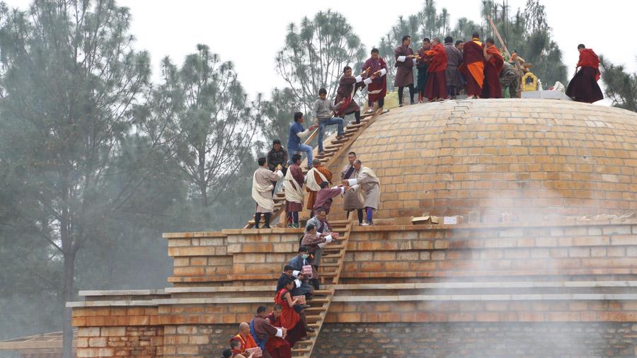 Bhoutan Construction d'un temple